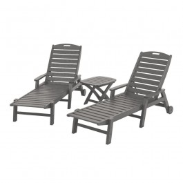 POLYWOOD® Nautical 3-Piece Arm Chaise Set