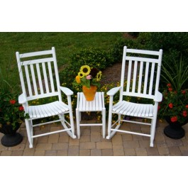 Classic Slat Back Rocking Chair 3 Piece Assembled Set
