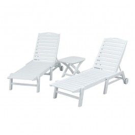 POLYWOOD® Nautical 3-Piece Armless Chaise Set