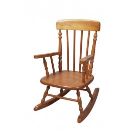 Deluxe Child's Spindle Rocking Chair - Honey
