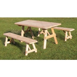Traditional Cedar Table w/ 2 Benches