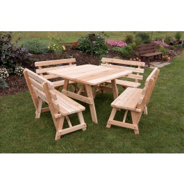 Square Cedar Table w/ 4 Backed Benches