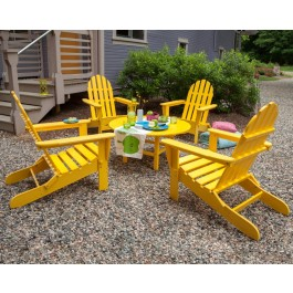 POLYWOOD® Classic Folding Adirondack 5-Piece Conversation Group