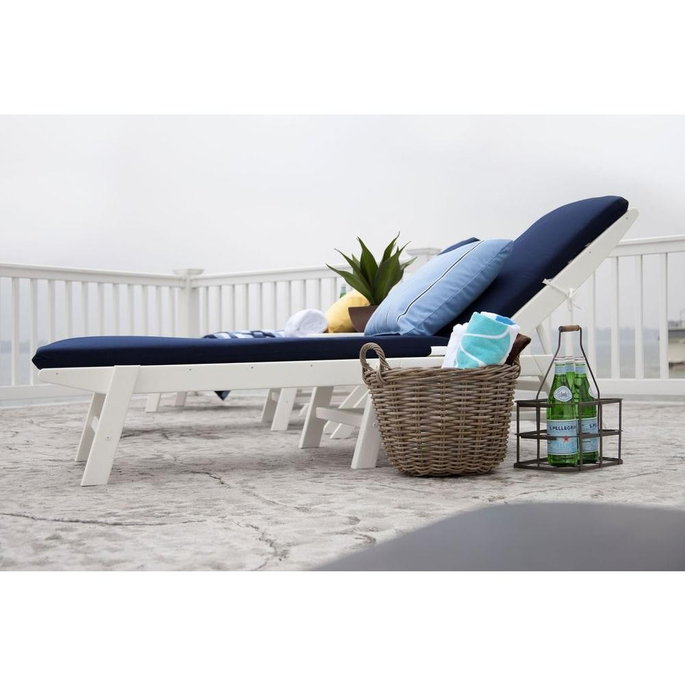 Polywood 3 Piece Nautical Chaise Set With Cushions The