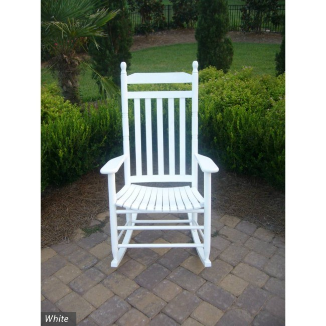 Country Style Slat Back Wooden Rocking Chair The Rocking