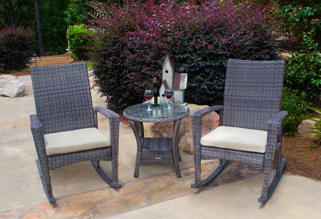 All Weather Patio Set Containing 2 Rocking Chairs And A