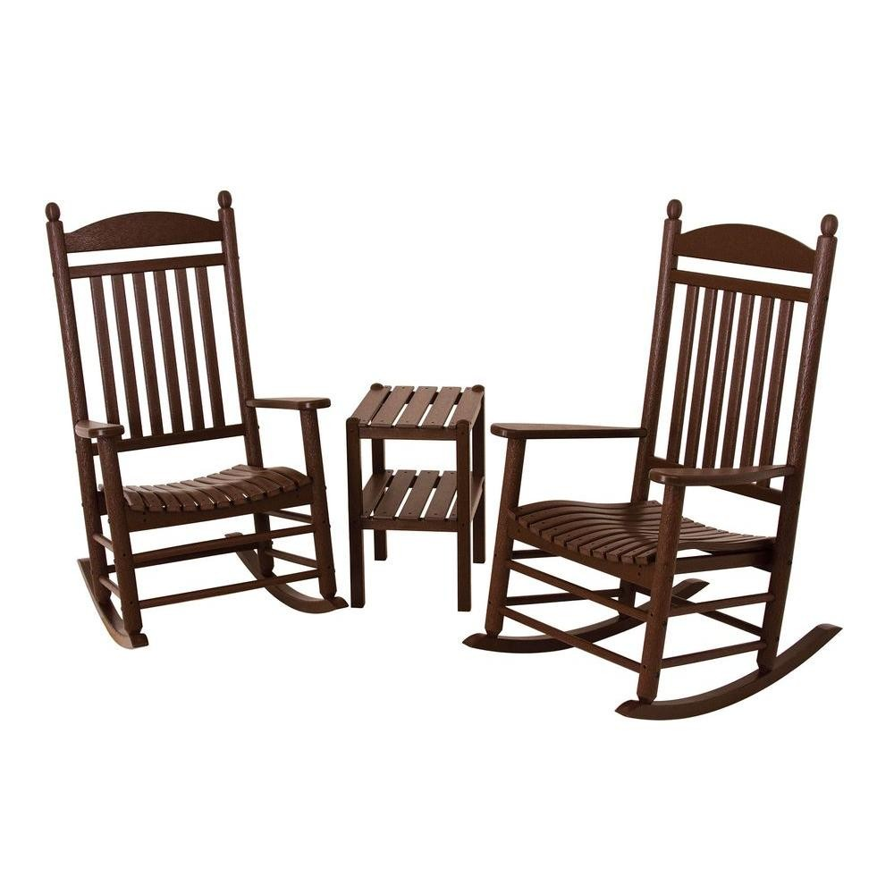 Polywood Jefferson Style 3 Piece Outdoor Rocking Chair Set