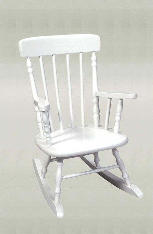 Childu0027s Deluxe Spindle Rocking Chair   White