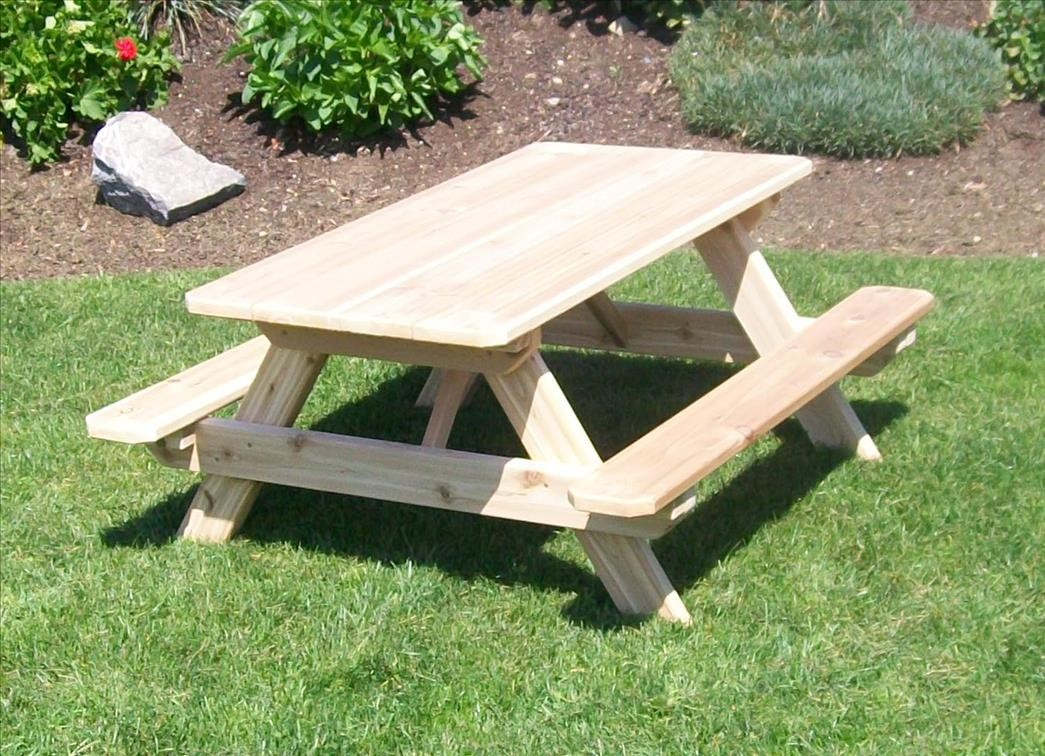HandCrafted Outdoor Wooden Picnic Table For Kids The Rocking - Unfinished wood picnic table