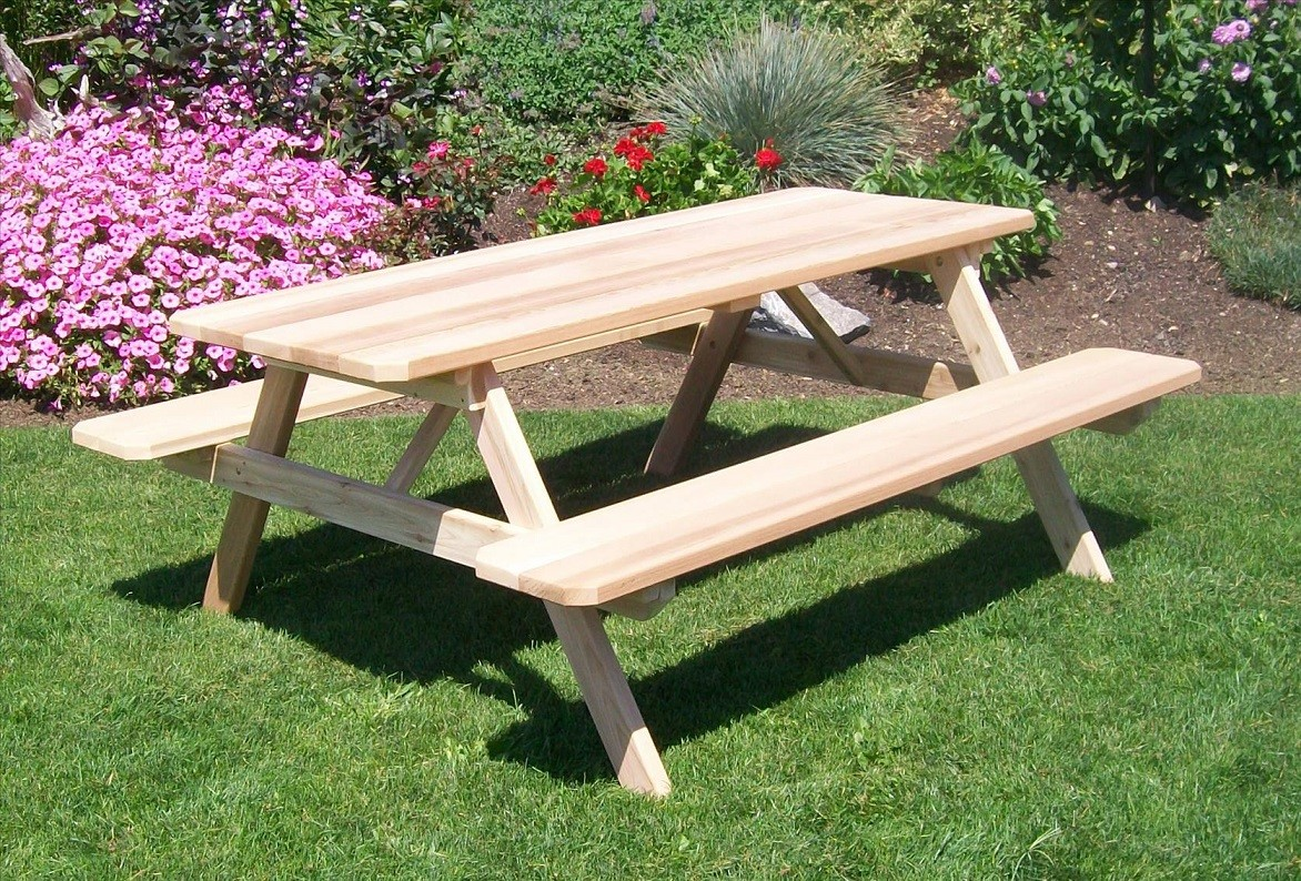 Hand Crafted Cedar Picnic Table With Attached Benches