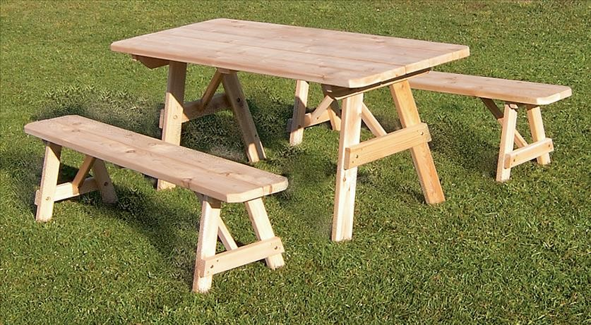 Hand Made Traditional Cedar Picnic Table With Benches