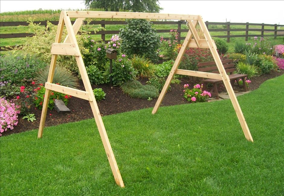 Cedar A Frame Stand For Swing Or Swing Bed With Hangers