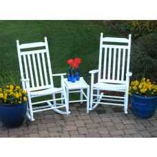Country Style Slat Back Rocking Chair 3 Piece Assembled Set