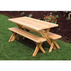 Crossleg Cedar Table w/ 2 Benches